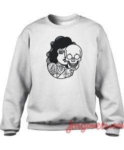 Skull Mask Girl Crewneck Sweatshirt