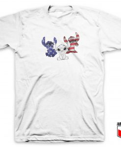 Stitch American Flag T Shirt